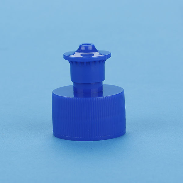 Plastic water bottle cap push pull