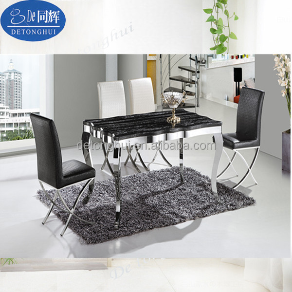 CT-803# Y-601# Marble Top Stainless Steel Legs Dining Table