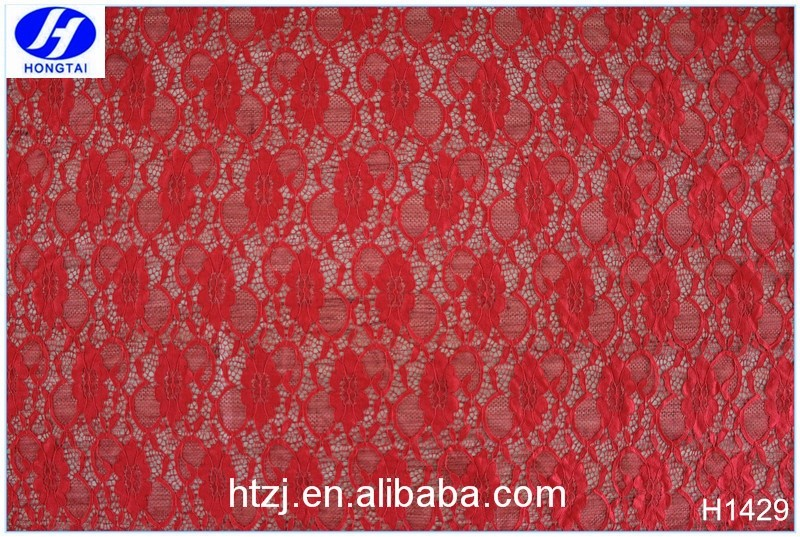 2017 Hongtai hot red rose spandex elastic lace fabric for wedding dresses