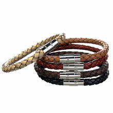 5 Colors 6mm Braided Bolo Leather Bracelet With Stainless Steel Magnetic Clasp