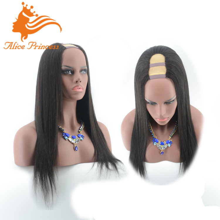 Full Cuticle Best Natural Color 100% Unprocessed Virgin Human Hair <strong>U</strong> Part Wig Remy Hair Lace Wig