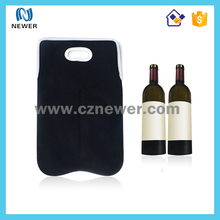 Insulated Black Neoprene wine Bag Tote and Water Bottle Sleeve