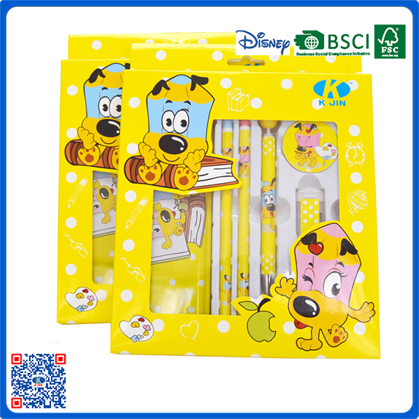 Hot sale back to school cartoon logo children stationery set