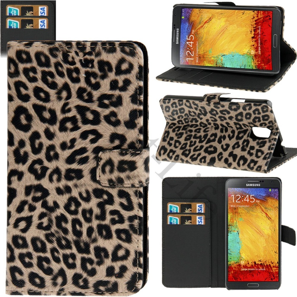 Leopard Cheetah Flip Wallet Stand Holder Case For iPhone 6 Samsung S7 S6 S5, S4, S3