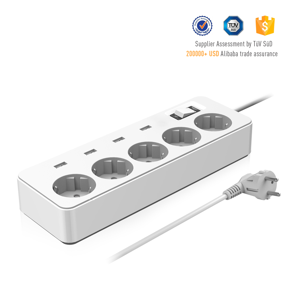 Short circuit over heat protections keep devices safe 4000W surge protector