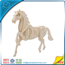 Wholease new toys for kid and adults horse 3d model wholesale animal wood jigsaw puzzles