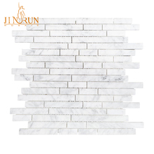 Carrara White Strip Stone Mosaic Tiles for Kitchen