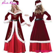 Elegant Red Evening Santa Outfits Women Christmas Latex Costume