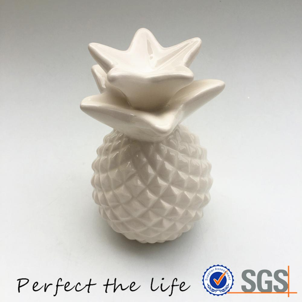 Customized white small ceramic pineapple shaped cookie storage jar
