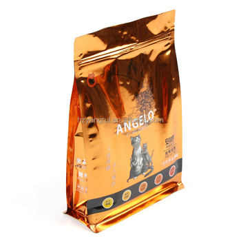 Custom 500g plastic foil flat bottom cat food bag with zipper