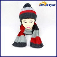 HZM-13418006 popular Newest Design pompom winter wholesale kids ladies designer hat and scarf sets
