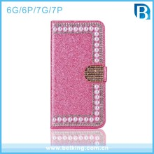 Glitter Shiny PU Flip Leather Phone Case for iPhone 6s Wallet Case Pearl