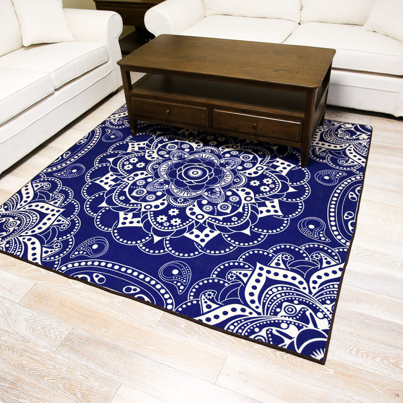 Chinese blue lotus classic square mat nylon floor carpet for living room