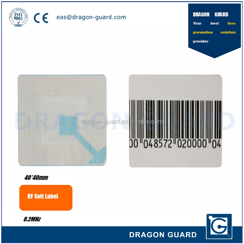 retail security eas rf sticker RF Barcode Label 4x4