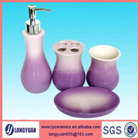 Ceramic purple bathroom accessories sets for hotel