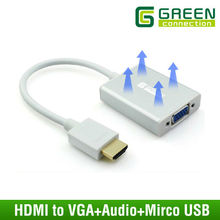HDMI to VGA Converter 3.5MM Audio Mirco USB converter Aluminum case