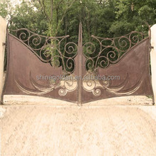 GYD-15G0127 laser cutting special shape act wrought iron main gate designs