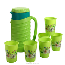 Hot Sale Green Color 2L Plastic Water Container With 6 Cups