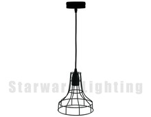 Black Cage Pendat Lamp, Industrial Hanging Light Fixture, Modern Home Lighting