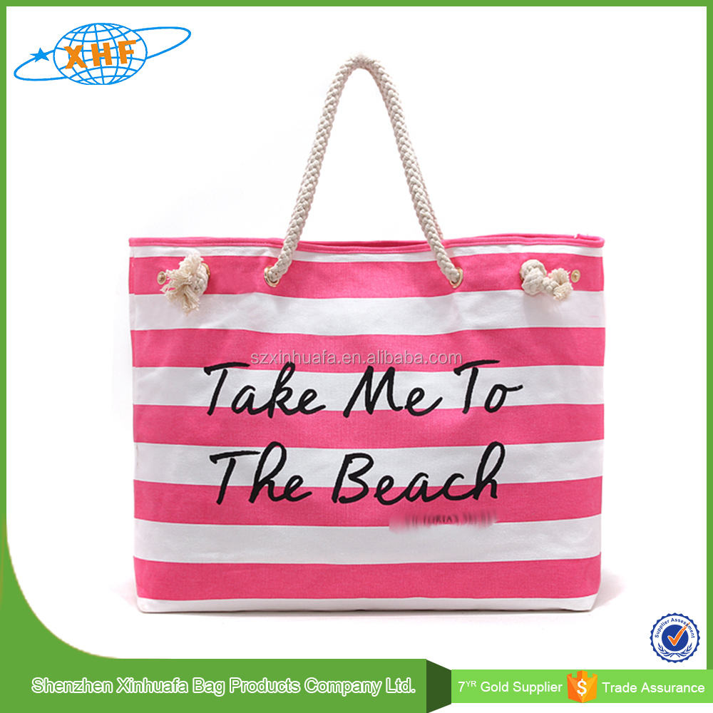 2017 Alibaba Suppliers Ladies' Handbag At Low Price Canvas Stripe Beach Bag