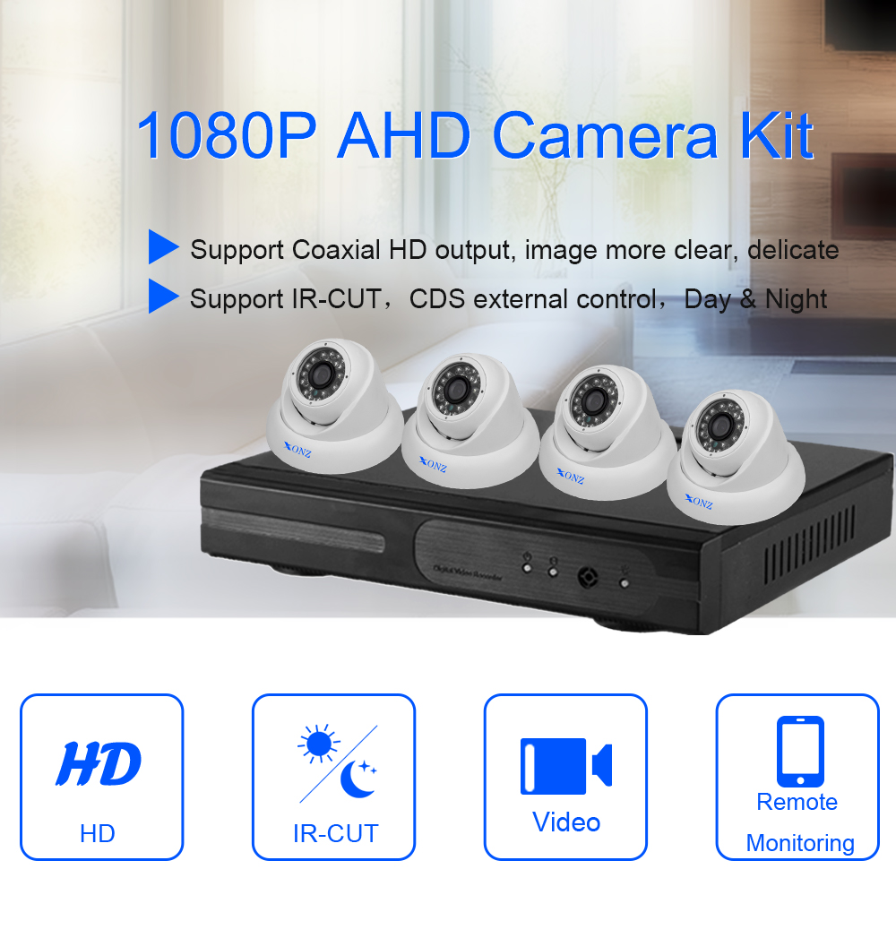 Price list full hd 1080p ir network camera 4CH channel cctv dvr kit