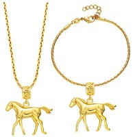 gold plate horse shape pendant necklace jewelry