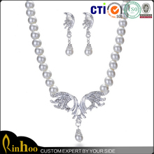 High quality uncut diamond necklace sets indian bridal pearl jewelry sets,feather shape earrings sets
