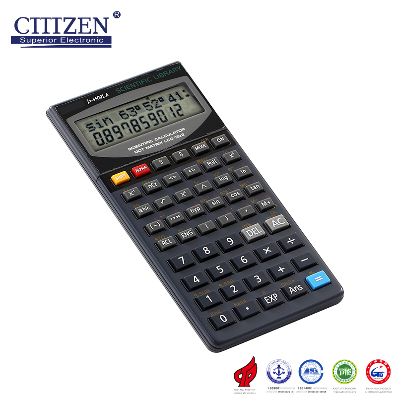 Multifunctional fx-5500LA Electronic 10 Digit Plastic Key scientific Calculator for wholesales