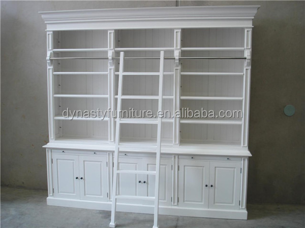 wood vintage white display cabinet with ladder