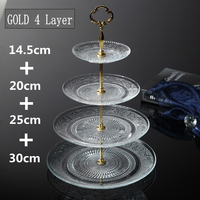 Wholesale 4 tier clear glass cake plate stand