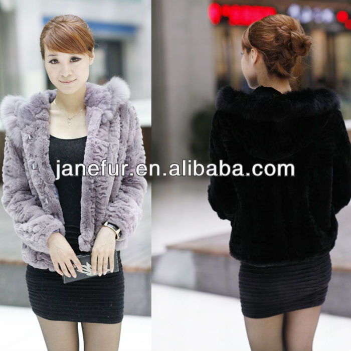 Winter Clothes Women genuine rex rabbit fur collar coat and real Rabbit fur Hoodie