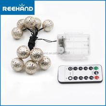 3.5M 10 LED indoor outdoor bright dimmer led string light Moroccan ball with Remote control and battery box