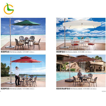 Parasol with marble base Square Patio Restaurant Wind Resist with fringe Outdoor Umbrella