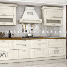 White classic small kitchen unit top quality solid wood kitchen cabinet with range hood