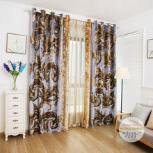 Woven rayon printed velvet blackout curtains for the living room