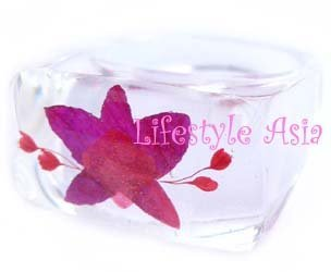 Real Decorative Orchid Petal Resin Ring