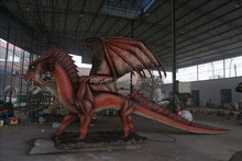 amusement park games factory large decorative animatronic animal of fire dragon