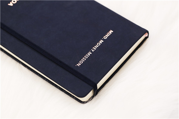 Wholesale A5 microfiber leather hardcover daily improvement planner with gold foil stamping logo