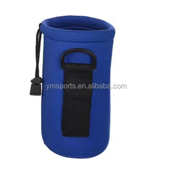 Neoprene water bottle sleeve drawstring insulated cooler bag