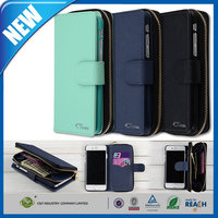 "C&T Purse Case Premium Wallet PU Leather Zipper Flip Cover with Magnetic Back Case for iPhone6 (4.7"")"