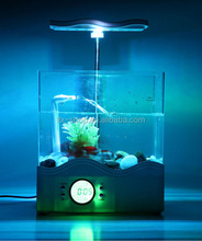 Newest Multifuncational USB Fish Tank with Table Lamp, Electric Mini Aquarium LED Clock with Voice Speaker