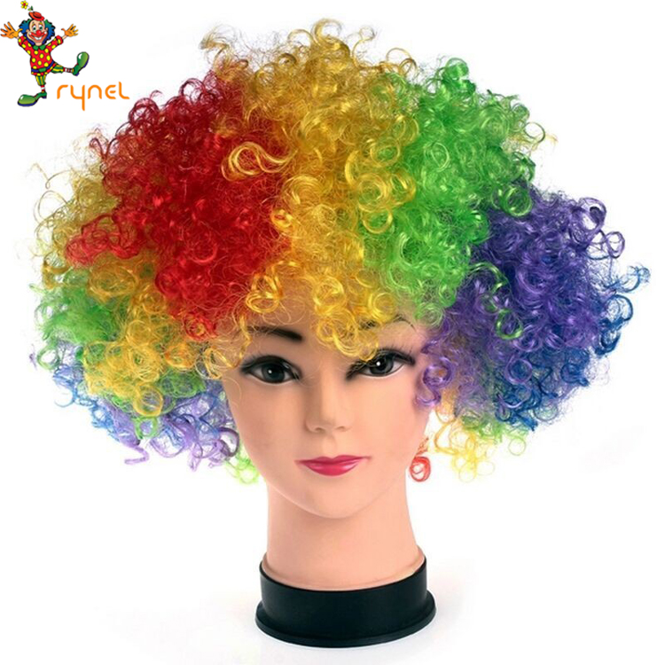 PGWG1244 Afro Clown Hair Wig Football Fan Adult Child Costume Party Props Christmas Halloween Party Curly Hair Wig