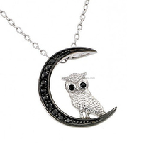 Lovely Design Black White Crystal Owl On Moon Pendant Necklace