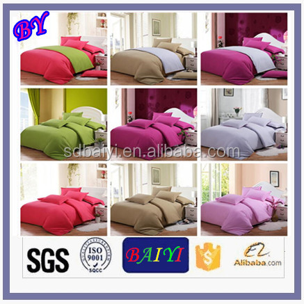 100 cotton Solid Colour Microfiber Bedding Sets Fitted Sheet