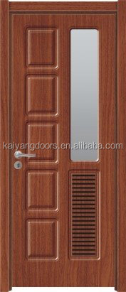 High quality interior mdf pvc wooden glass bathroom door