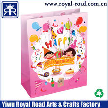 Yiwu Manufacturer customized CMYK Printing Small Paper Gift Bags With Ribbon Handles for happy birthday gift package