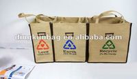 nature jute tote foldable storage bag with printing
