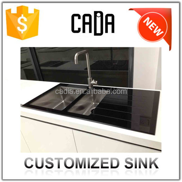 australian modular kitchen guangzhou factory chinese face wash deep glass vessel sink with drain parts