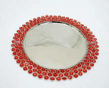Crystal Embedded Charger Plate Red