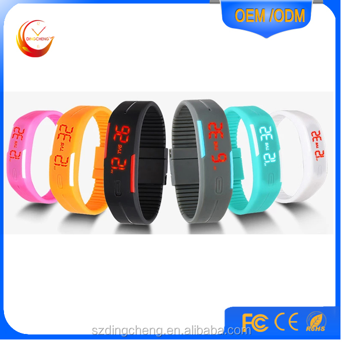 2016 new products colorful Sports Simple Touch Led Watch Silicone